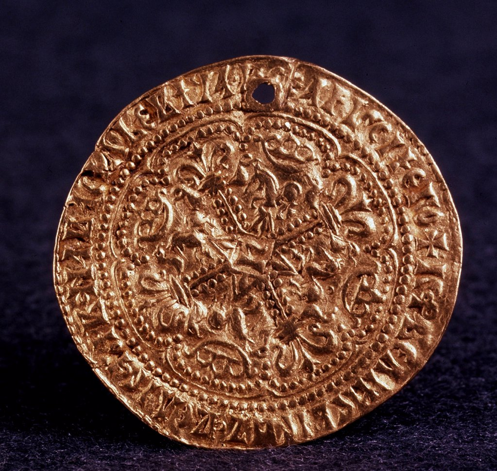 Stock Photo: 4266-10915 Russian coin, gold, 1471-1490, Moscow School, Russia, St Petersburg, State Hermitage, 3, 3