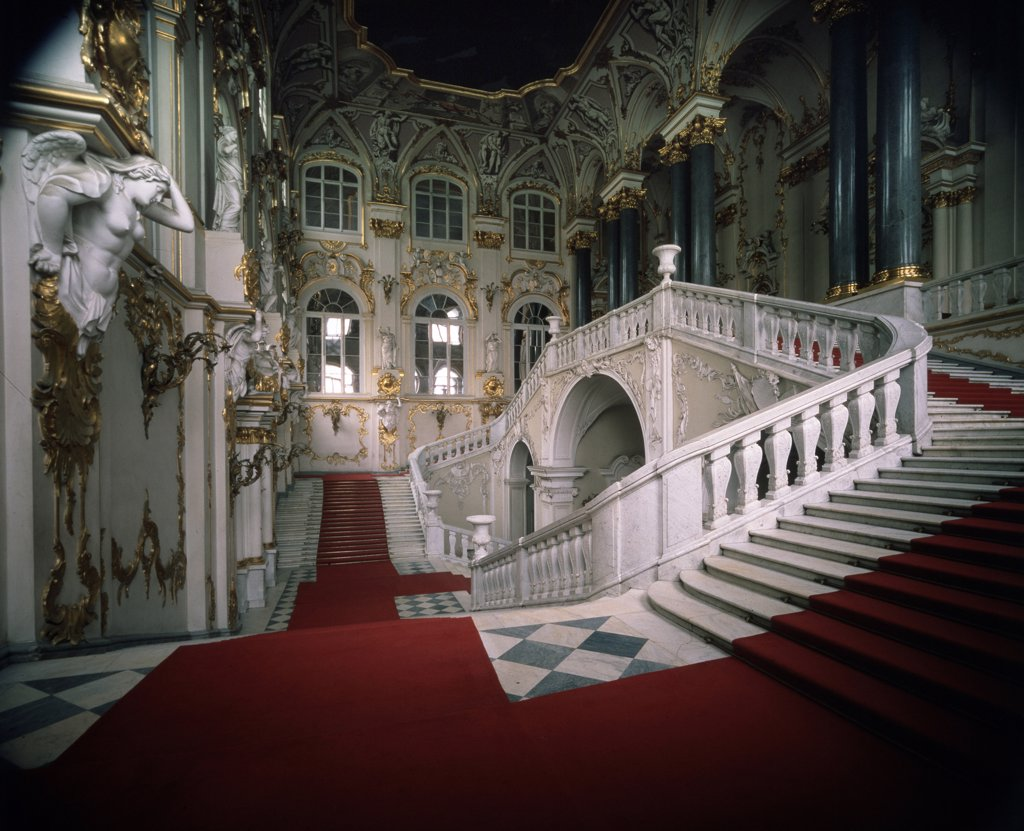 Staircase in Winter Palace by Bartolomeo Francesco Rastrelli, 1756-1761, 1700-1771, Russia, St Petersburg, State Hermitage : Stock Photo