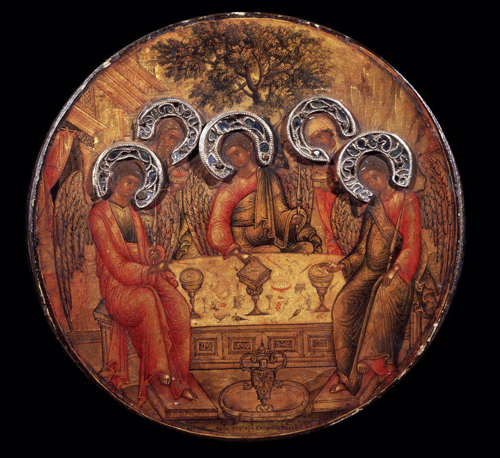 Stock Photo: 4266-10990 Hospitality of Abraham by Nikita Yerofeyev, tempera on panel, 1671, ?..-1677, Russia, St Petersburg, State Russian Museum, 11, 8