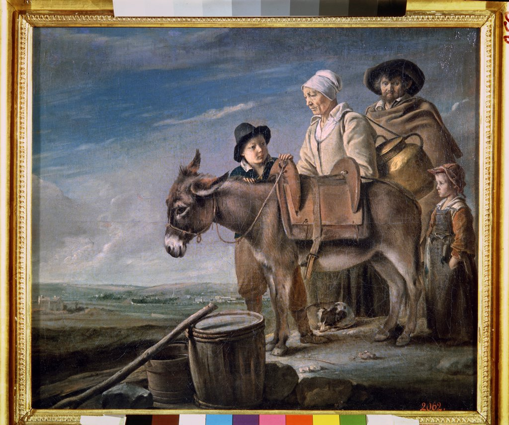 Peasant family by Louis Le Nain, oil on canvas, 1641, 1593-1648, Russia, St Petersburg, State Hermitage, 51x59 : Stock Photo