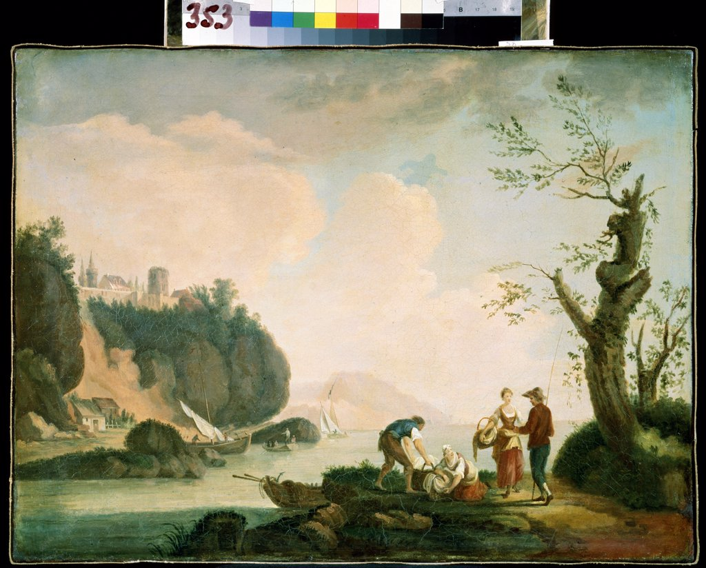 Stock Photo: 4266-11051 Scene by river by Simon Mathurin Lantarat, oil on canvas, 18th century, 1729-1778, Russia, Sevastopol, M. Kroshitsky Art Museum