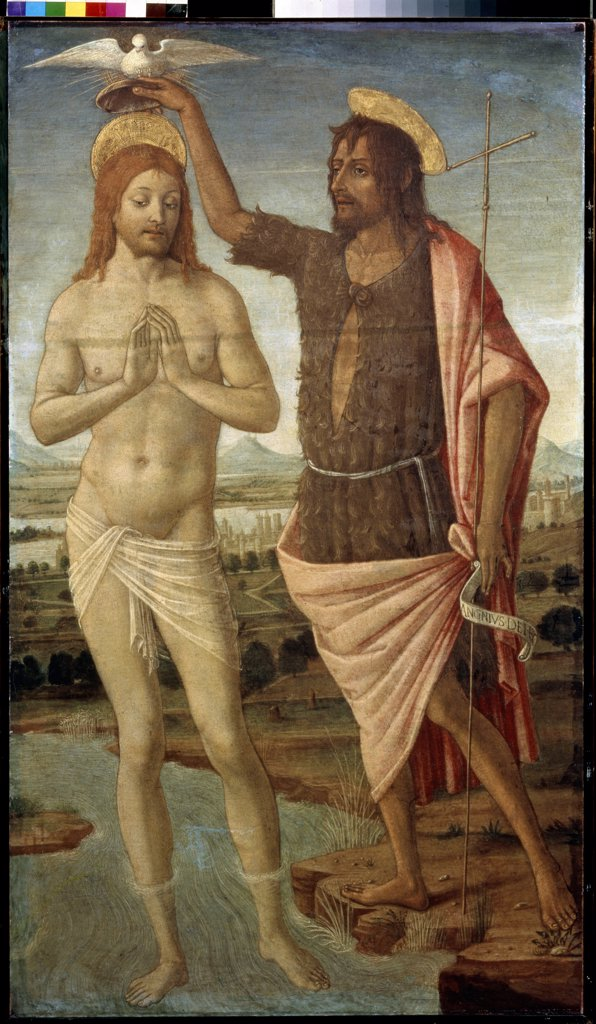 Stock Photo: 4266-11096 Baptism of Christ by Guidoccio di Giovanni Cozzarelli, Tempera on canvas, after 1486, 1450-1517, Russia, Moscow , State A. Pushkin Museum of Fine Arts, 112x64