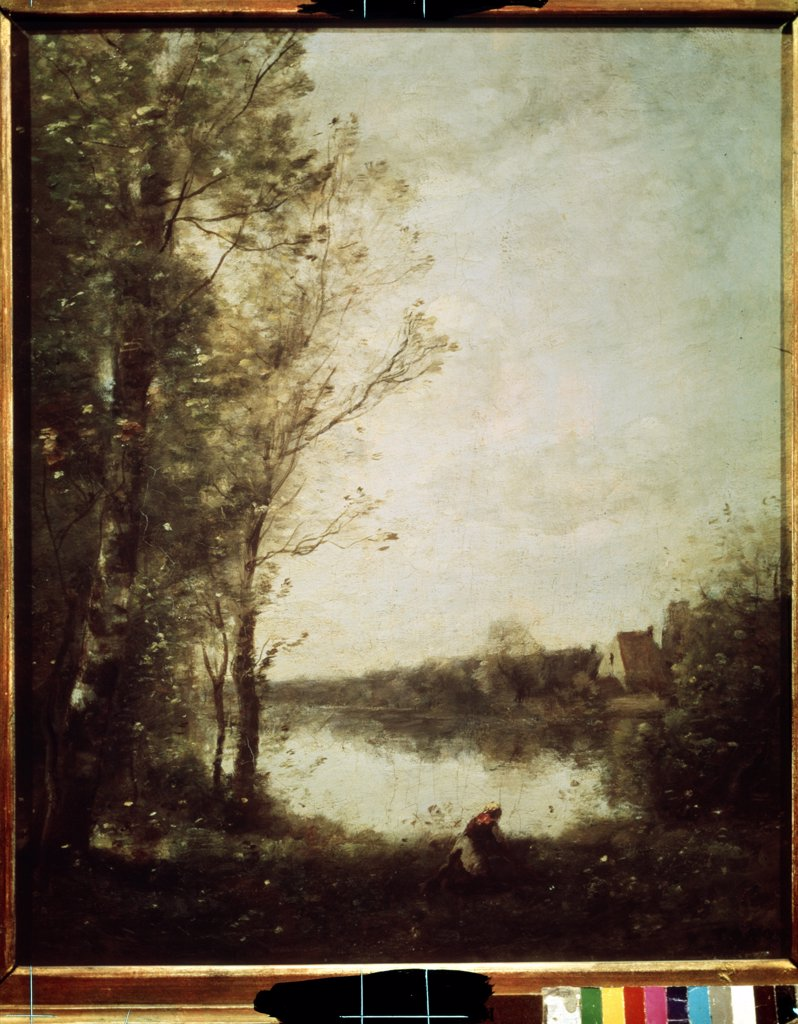 Stock Photo: 4266-11111 Birch tree by Jean-Baptiste Camille Corot, oil on canvas, 1865-1870, 1796-1875, Russia, Moscow , State A. Pushkin Museum of Fine Arts, 46x37