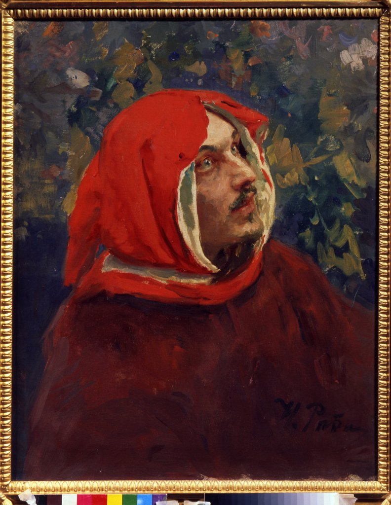 Dante Alighieri by Ilya Yefimovich Repin, Oil on canvas, 19th century, 1844-1930, Russia, Kostroma, State United Art Museum, 71, 5x57, 5 : Stock Photo
