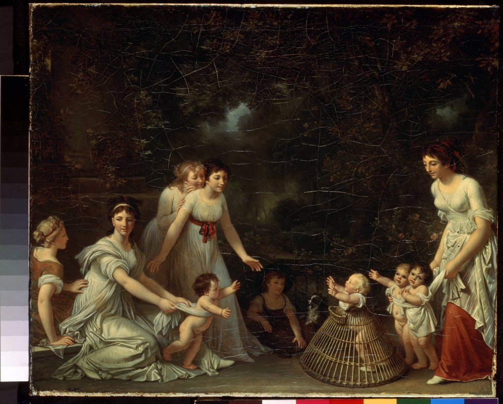 Family scene by Marguerite Gerard, oil on canvas, circa 1786-88, 1761-1837, Russia, St Petersburg, State Hermitage, 45, 5x55 : Stock Photo