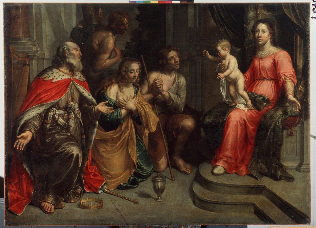 Stock Photo: 4266-11246 Adoration of Magi by Peeter van Lint, oil on canvas , 1609-1690, 17th century, Russia, St Petersburg, State Open-air Museum Palace Gatchina