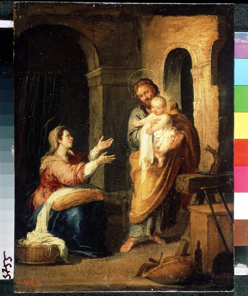 Stock Photo: 4266-11247 Holy Family by Bartolome Esteban Murillo, oil on wood, 1660-1670, 1617-1682, Russia, St Petersburg, State Hermitage, 24x18