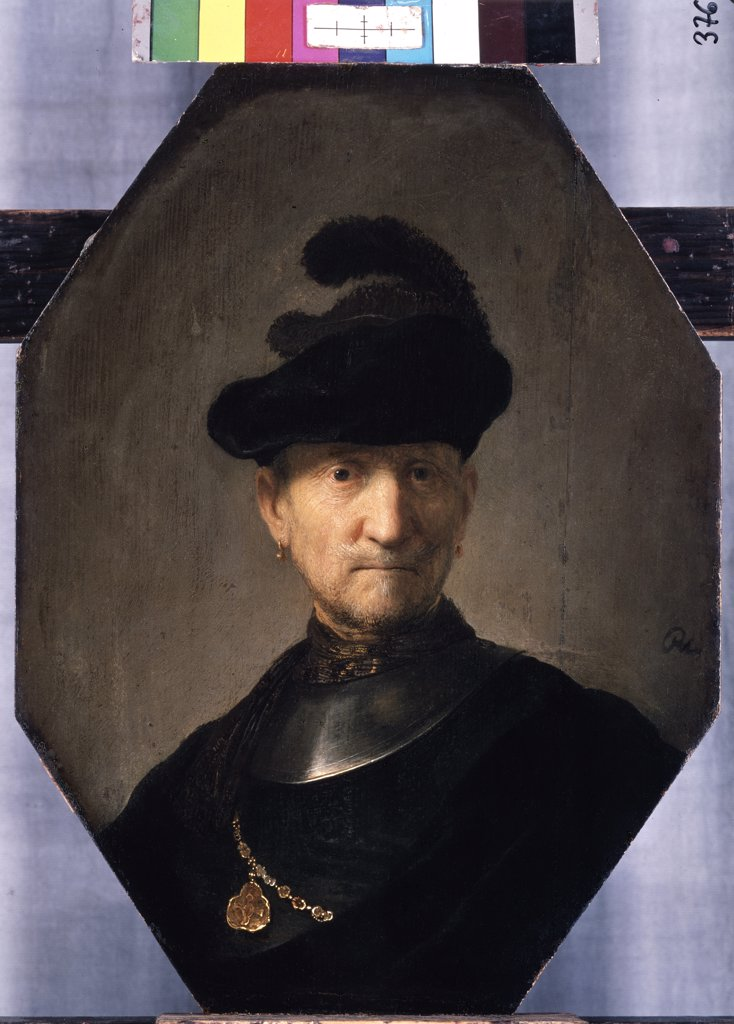 Stock Photo: 4266-11254 Portrait of man in black hat by Rembrandt van Rhijn, oil on wood, circa 1629-1630, 1606-1669, Russia, St Petersburg, State Hermitage, 36x26