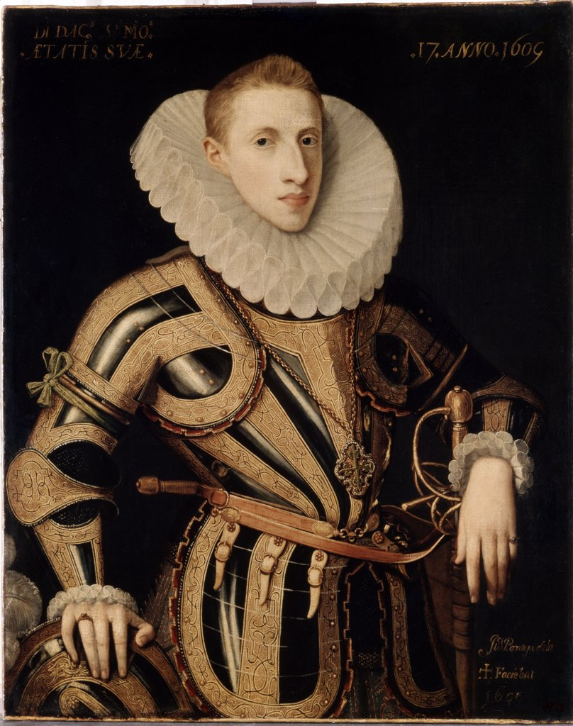 Portrait of Don Diego de Villamayor by Juan Pantoja de la Cruz, oil on canvas, 1605, 1553-1608, Russia, St Petersburg, State Hermitage, 88, 5x70, 5 : Stock Photo