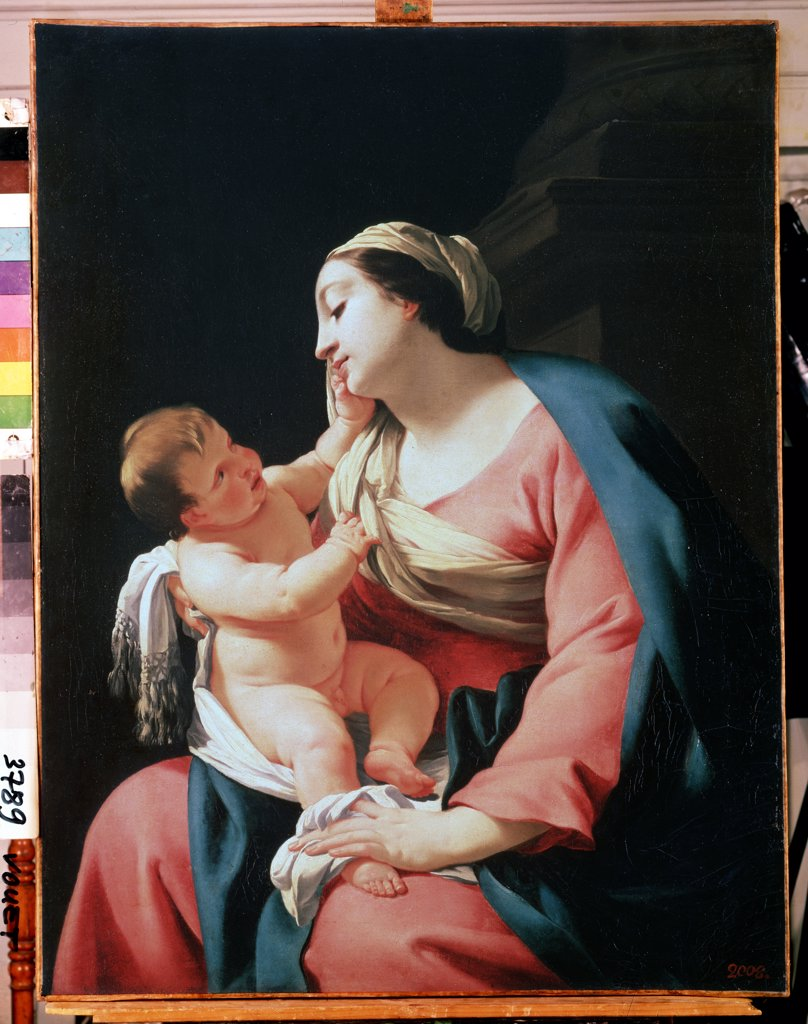 Stock Photo: 4266-11279 Virgin Mary with Jesus Chirst on lap by Simon Vouet, oil on canvas , 1590-1649, 17th century, Russia, St Petersburg, State Hermitage, 99, 1x76, 5