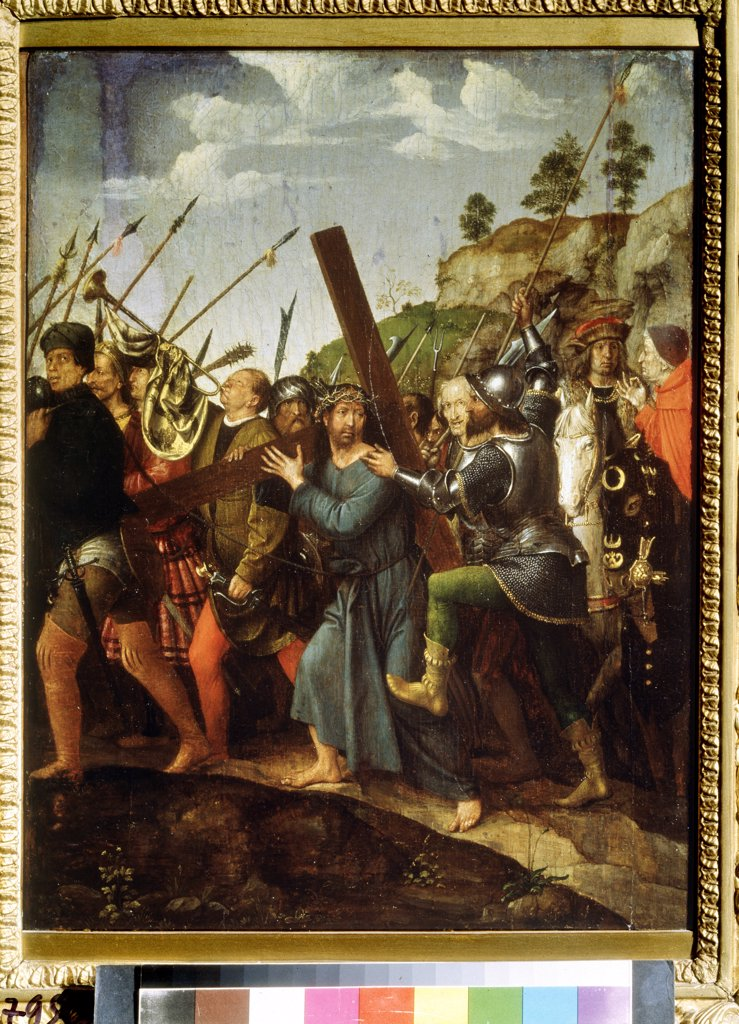 Stock Photo: 4266-11289 Christ carrying cross by Michael Sittow, oil on wood, circa 1518-1525, 1460/68-1525, Russia, Moscow, State Pushkin Museum of Fine Arts, 37, 5x28, 3