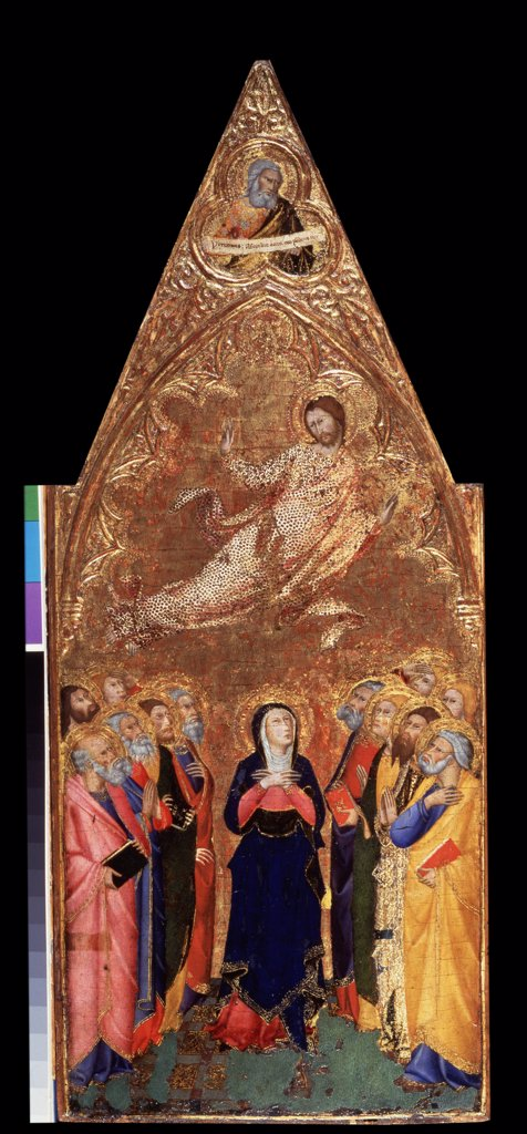 Religious illustration by Andrea di Vanni , wood, tempera , 1355-1360, circa 1332-1414, Russia, St. Petersburg , State Hermitage, 68x28 : Stock Photo