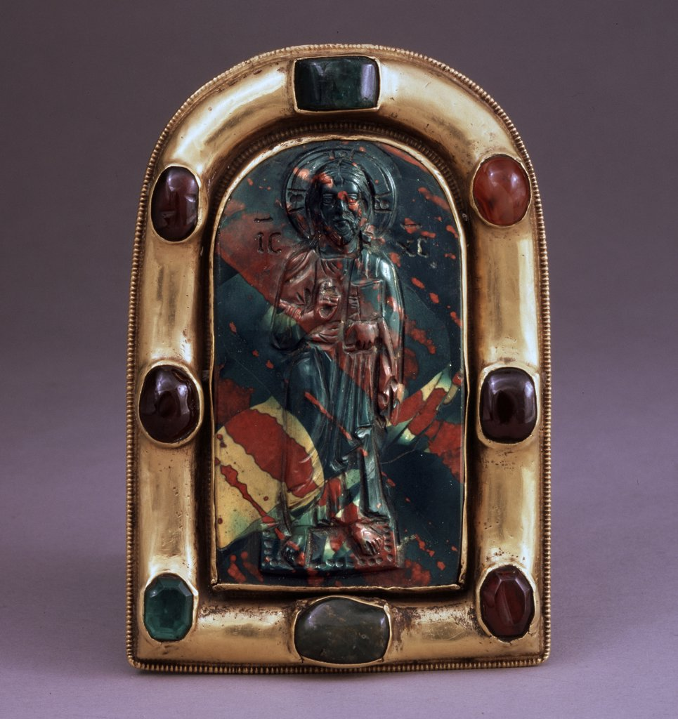 Byzantine Master, Jasper, gold, gems , circa 11th century, Russia, Moscow, State Armory Chamber in the Kremlin, 12x8, 2 : Stock Photo