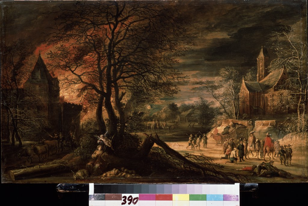 Stock Photo: 4266-11367 Fire by Enghelbert Ergo, oil on wood, 17th century, 1620- circa 1667, Russia, Moscow , State A. Pushkin Museum of Fine Arts, 43, 5x72, 5