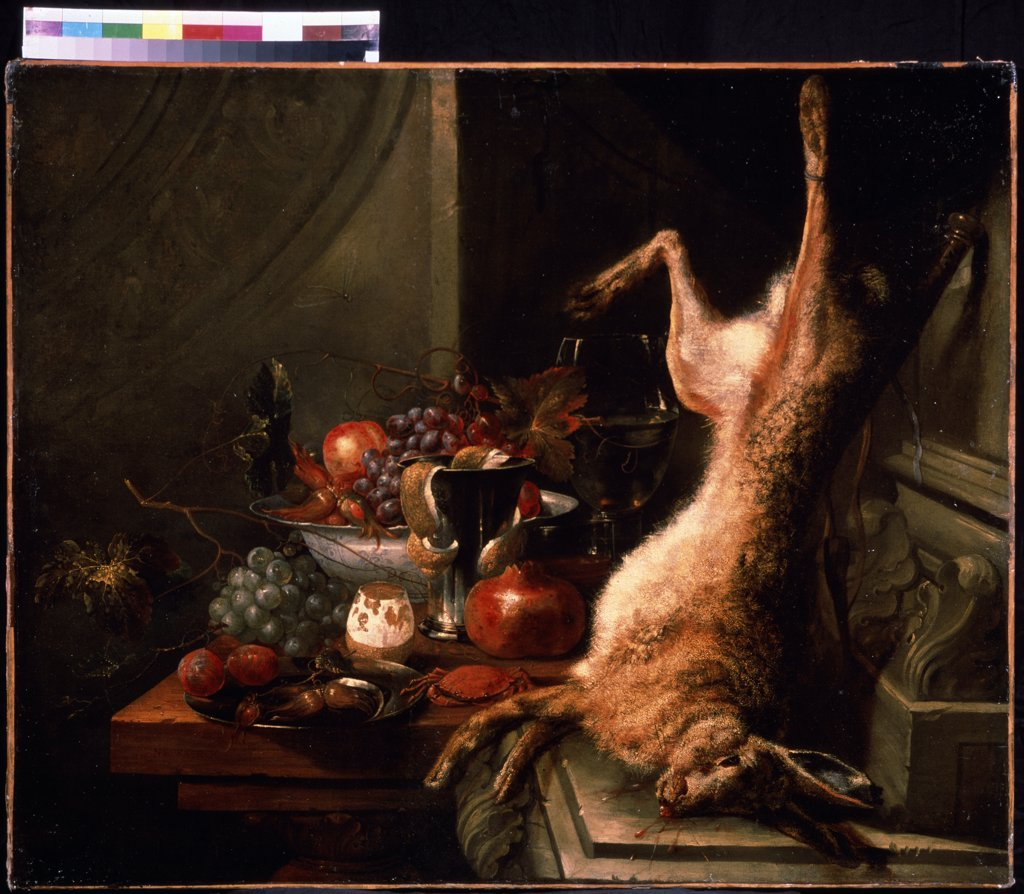 Stock Photo: 4266-11397 Still life by Jan Baptist van Moerkerke, oil on canvas, 1660-1689, Russia, Moscow , State A. Pushkin Museum of Fine Arts, 82x100