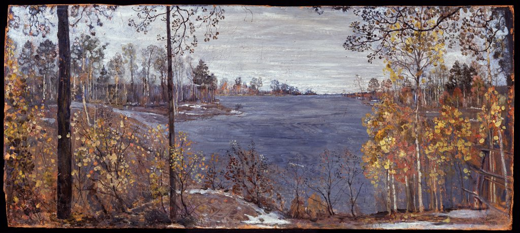 Stock Photo: 4266-11410 Landscape by Isaak Izrailevich Brodsky, Oil on canvas, 1907, 1884-1939, Russia, Vologda, Regional Art Gallery, 44x99