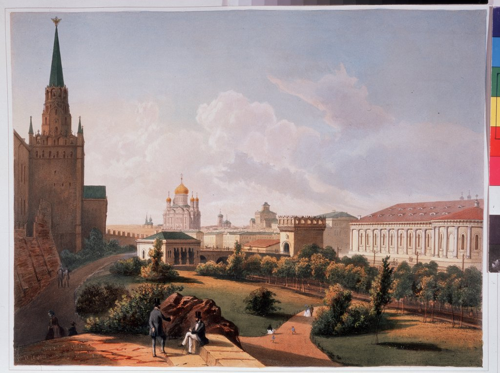 Stock Photo: 4266-11444 Moscow view by Louis Julien Jacottet, Lithograph, watercolor, 1830s, A. Pushkin Memorial Museum, St. Petersburg,
