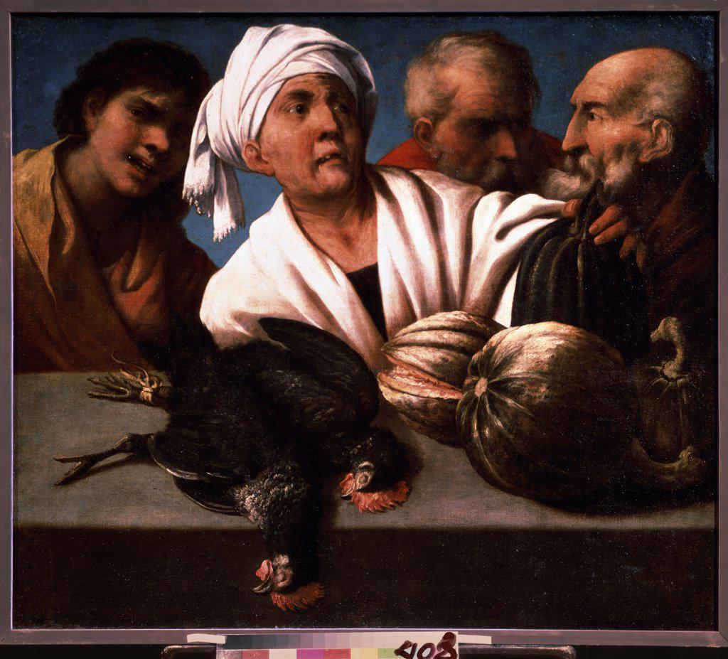 Stock Photo: 4266-11451 Genre Scene by Pietro della Vecchia, Oil on canvas, 1650s, 1603-1678, Russia, Moscow, State A. Pushkin Museum of Fine Arts, 92x106