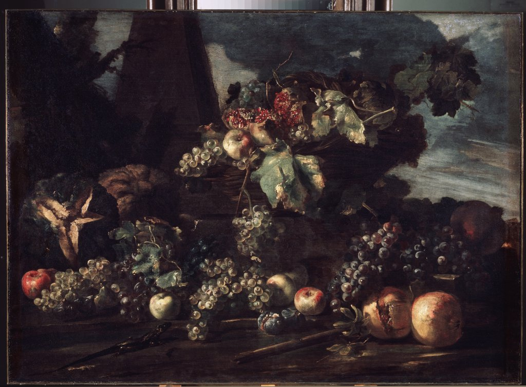 Stock Photo: 4266-11463 Still life by Michelangelo Campidoglio, Oil on canvas, 1610-1670, Russia, St. Petersburg, State Hermitage, 98x134
