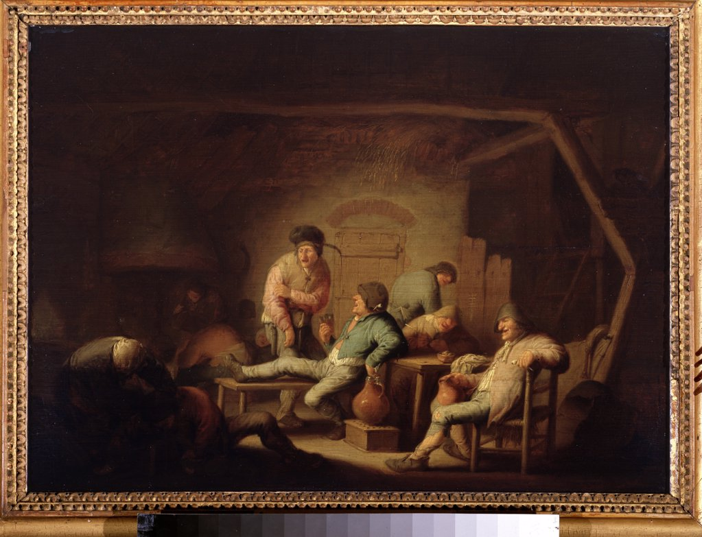 Stock Photo: 4266-11520 Inn scene by Adriaen Jansz van Ostade, oil on wood, circa 1635, 1610-1685, Russia, Moscow, State Pushkin Museum of Fine Arts, 41x55