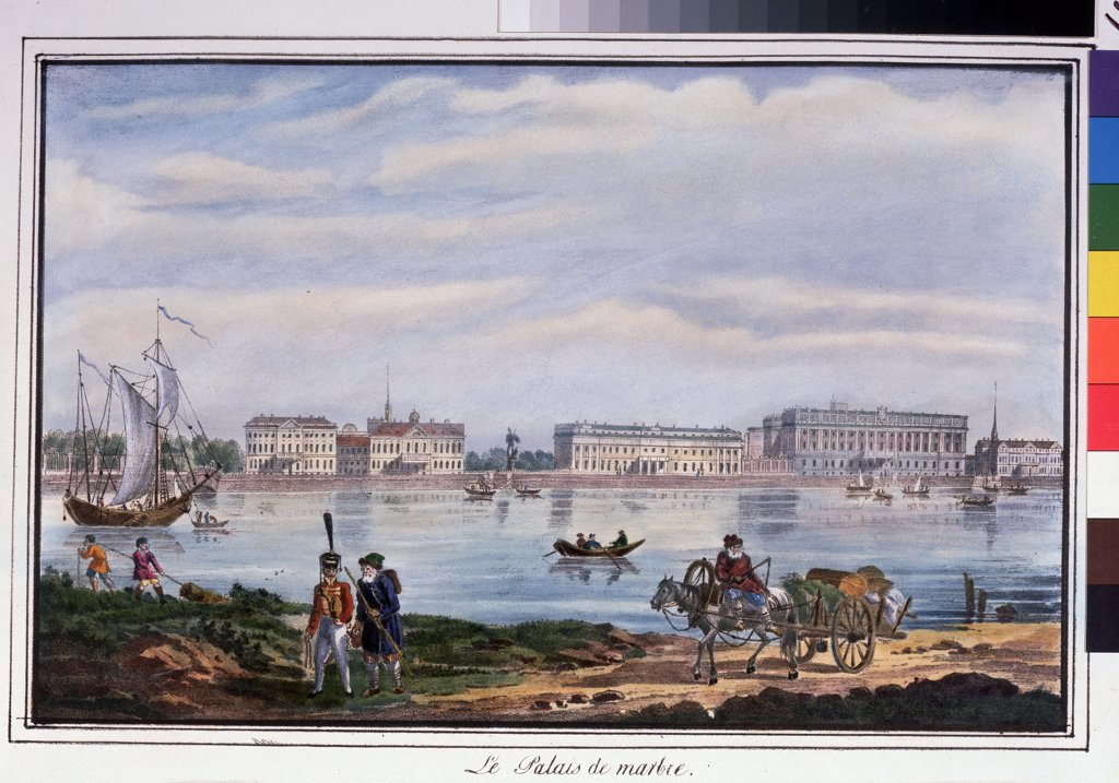 Stock Photo: 4266-11546 View of riverbank by anonymous painter, lithograph, watercolor, 1822, Russia, St. Petersburg, A. Pushkin Memorial Museum, 22x32