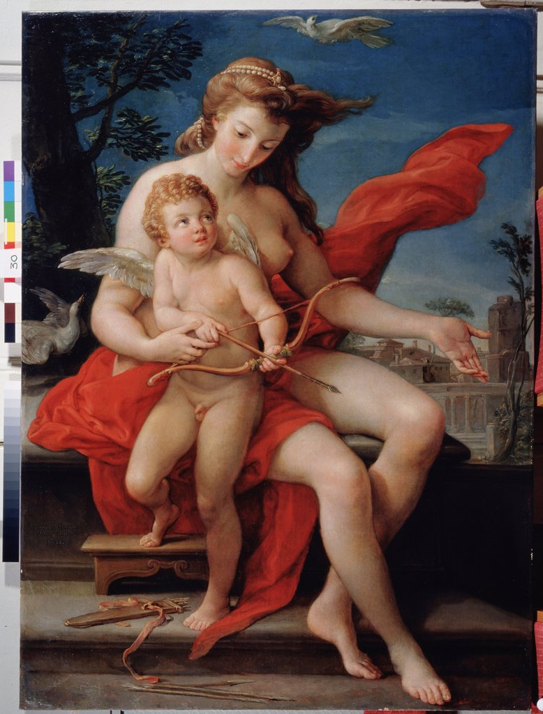 Stock Photo: 4266-11650 Venus and Cupid by Pompeo Girolamo Batoni, oil on canvas, 1785, 1708-1787, Russia, Moscow, State Museum Arkhangelskoye Estate 135x98