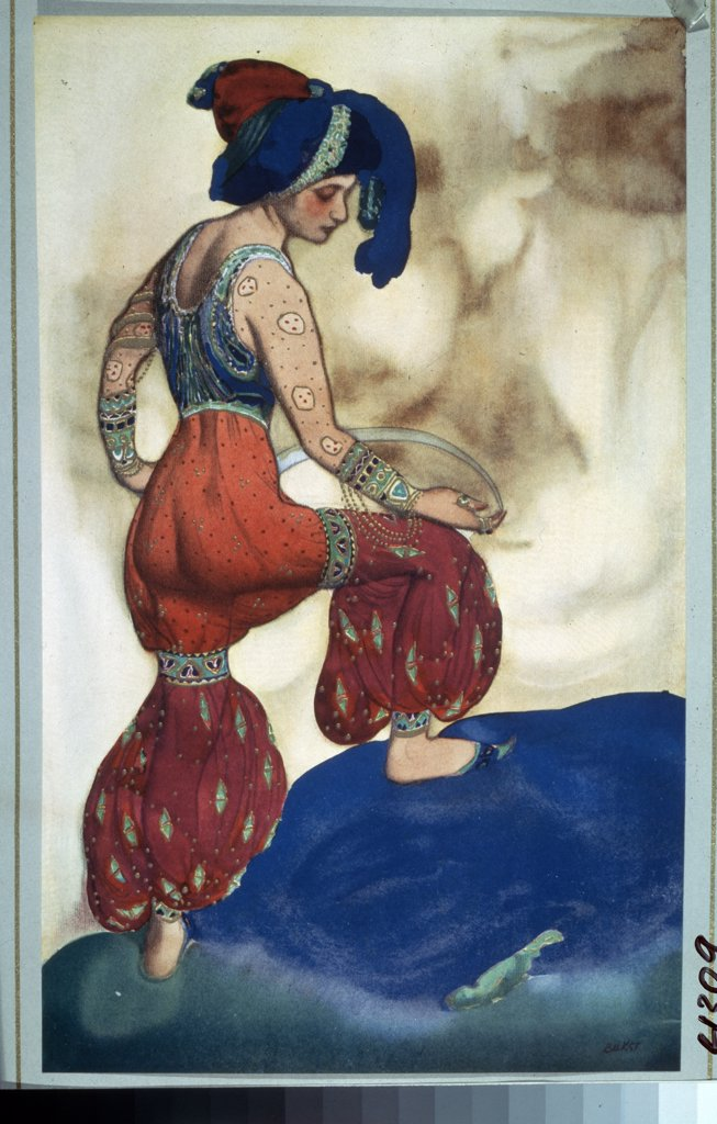 Bakst, Leon (1866-1924) Private Collection 1910 Pencil, Gouache and gold colour on paper  : Stock Photo