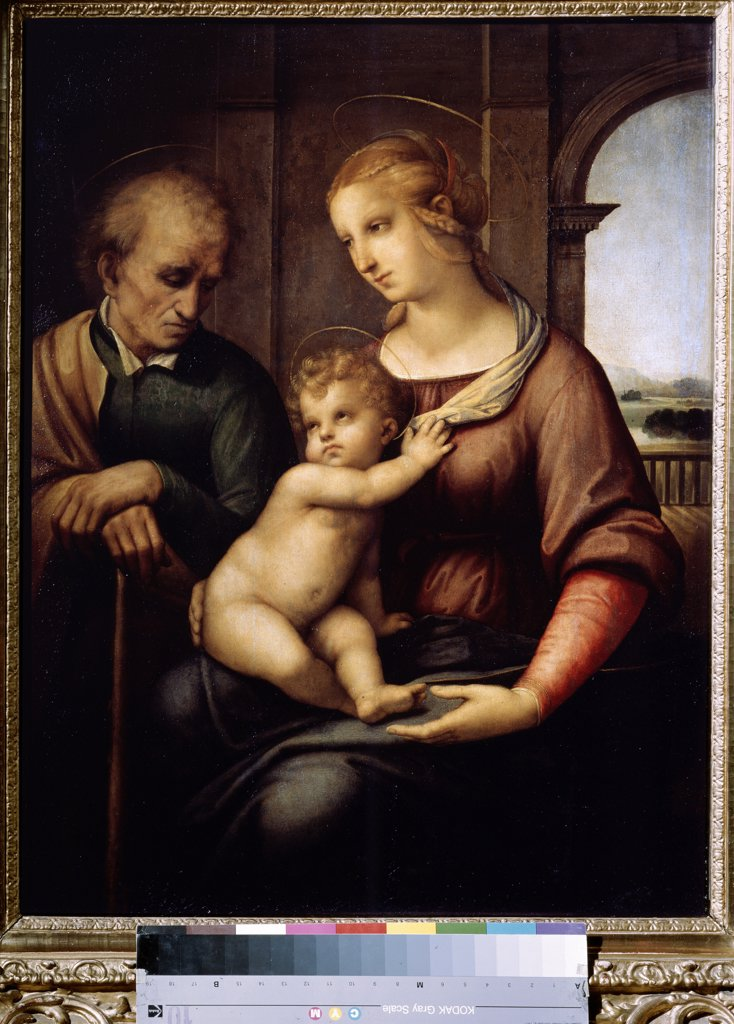Stock Photo: 4266-11732 Holy family by Raphael , tempera and oil on canvas , 1505-1506, 1483-1520, Russia, St. Petersburg, State Hermitage, 72, 5x56, 5