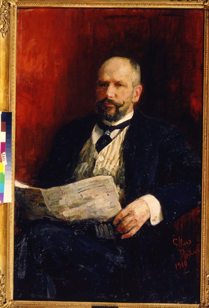 Portrait of Pyotr Stolypin by Ilya Yefimovich Repin, oil on canvas , 1910, 1844-1930, Russia, Saratov, State A. Radishchev Art Museum, 116x76 : Stock Photo