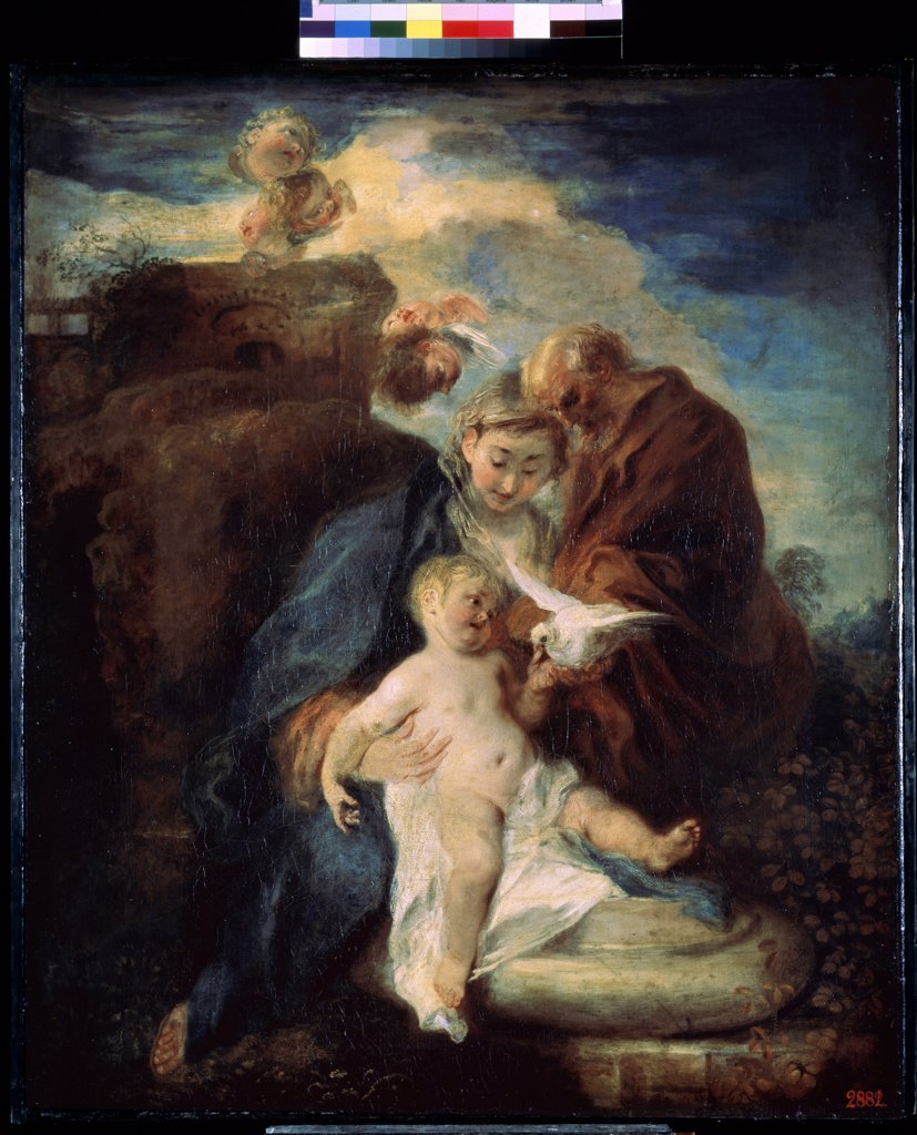 Stock Photo: 4266-11754 Holy family by Jean Antoine Watteau, oil on canvas, 1719, 1684-1721, Russia, St. Petersburg , State Hermitage, 117x98