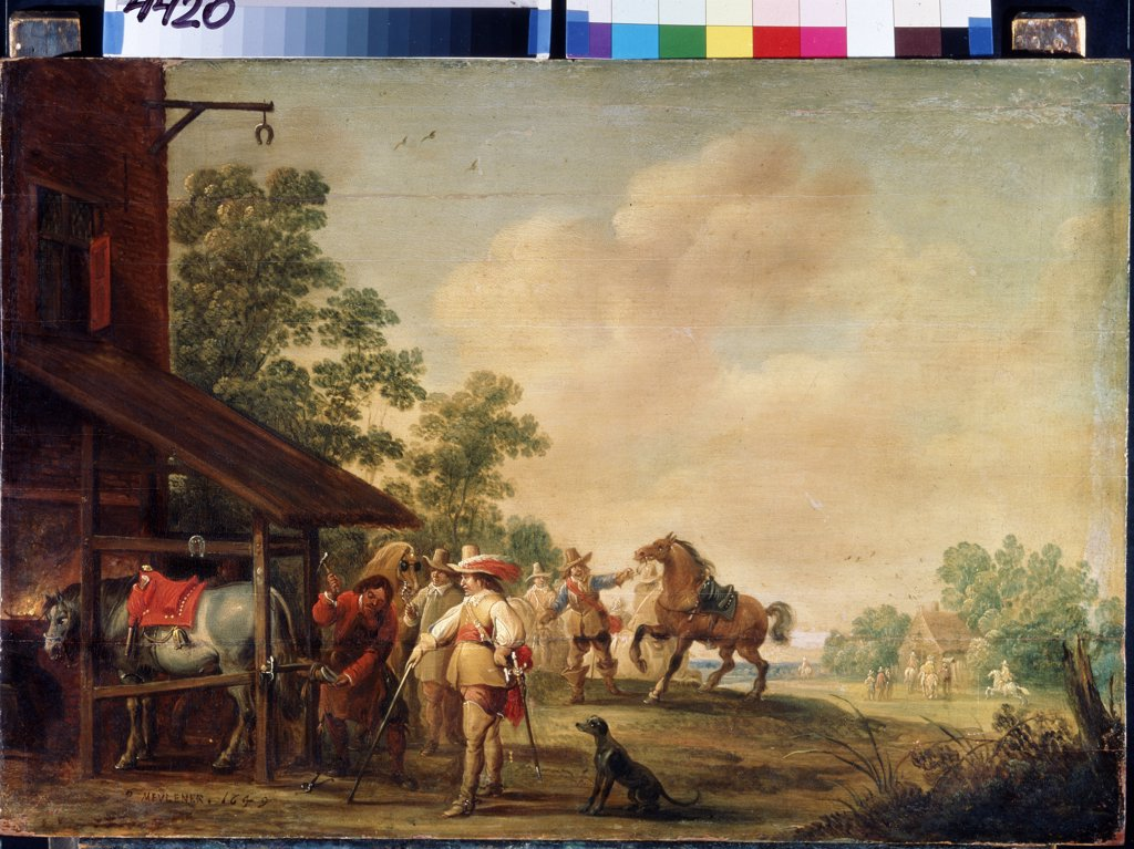 Stock Photo: 4266-11762 Forging horses by Peeter Meulenaer, oil on wood , 1648, 1602-1654, Russia, St. Petersburg , State Hermitage, 37, 3x53, 6