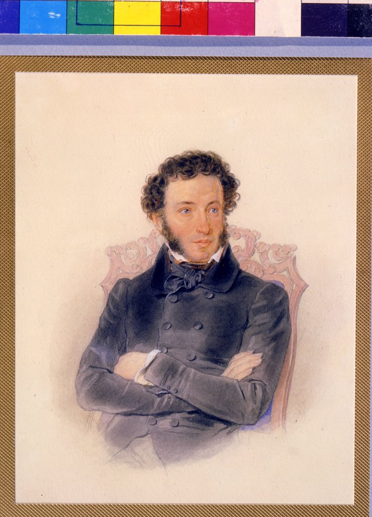 Portrait of Alexander Pushkin by Pyotr Fyodorovich Sokolov, watercolor on paper, 1836, 1791-1848, Russia, St. Petersburg, A. Pushkin Memorial Museum, 20, 3x16, 6 : Stock Photo