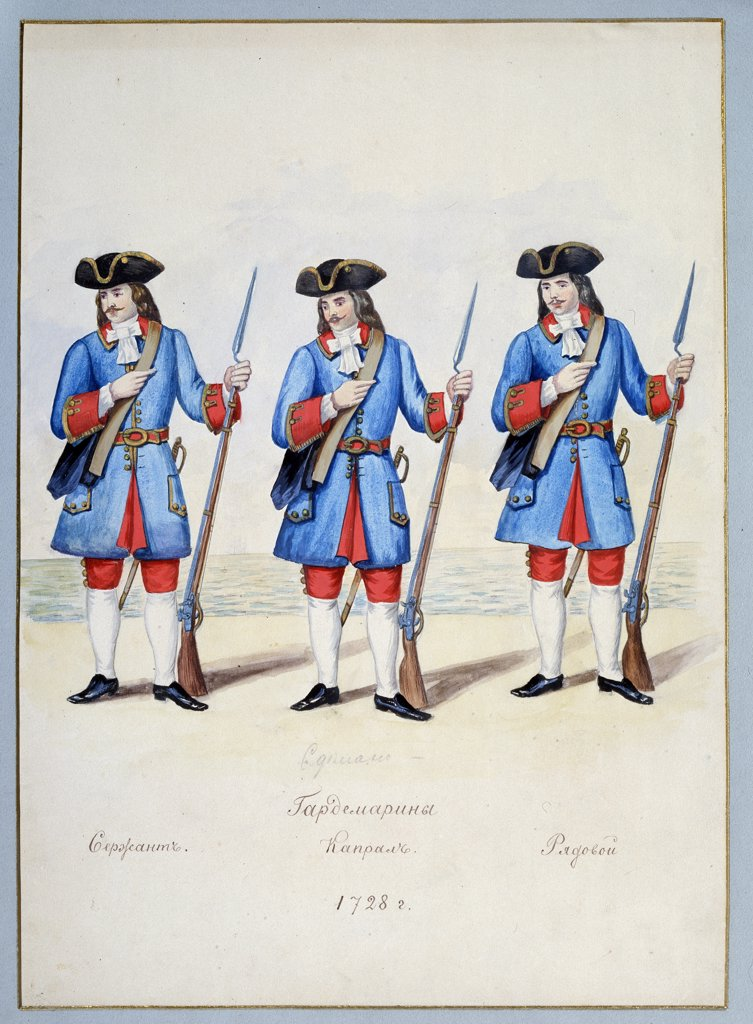 Stock Photo: 4266-11787 Uniform of the naval cadets by A.N. Korguyev, watercolor and ink on paper, 1890s, Russia, St. Petersburg, State Central Navy Museum