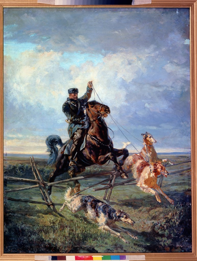 Hunting by Rudolf Ferdinandovich Frenz, oil on canvas, 1872, 1831-1918, Russia, St. Petersburg, State Russian Museum, 112x85, 5 : Stock Photo