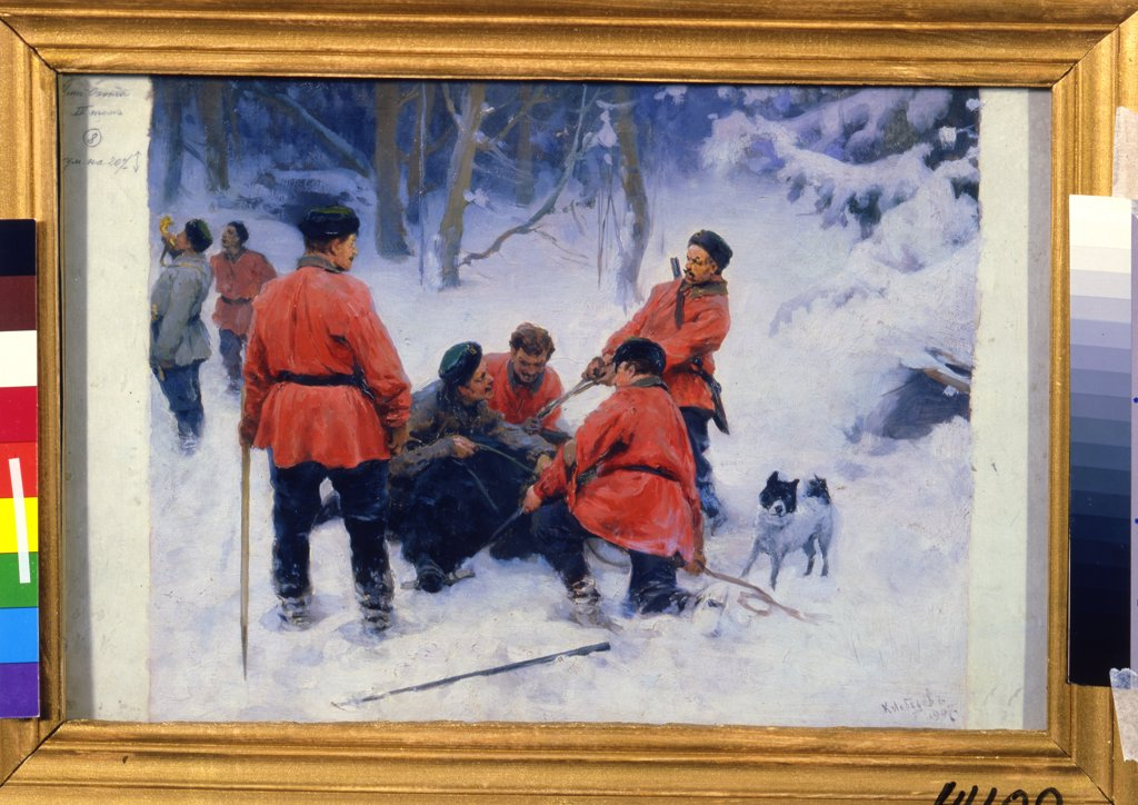 Stock Photo: 4266-11806 Bear hunting by Klavdi Vasilyevich Lebedev, oil on canvas, 1907, 1852-1916, Russia, St. Petersburg, State Russian Museum, 28, 5x42, 3