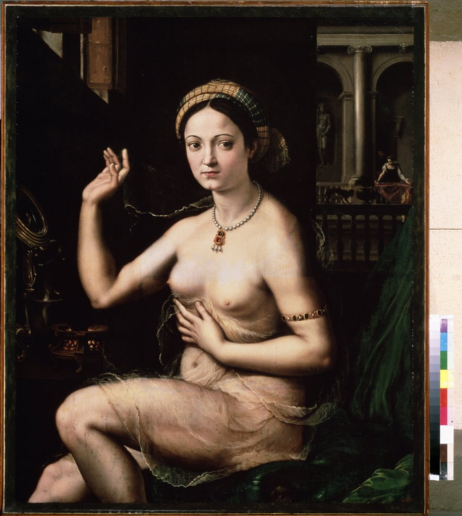 Portrait of naked woman by Giulio Romano, oil on canvas, 1520s, 1499-1546, Russia, Moscow, State A. Pushkin Museum of Fine Arts, 111x92 : Stock Photo