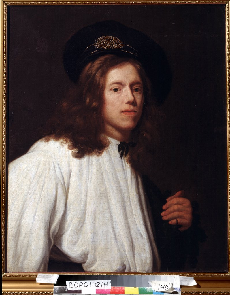 Stock Photo: 4266-1186 Portrait of young man by Samuel Dirksz van Hoogstraten, Oil on canvas, 1627-1678, 17th Century, Russia, Voronezh, Regional I. Kramskoi Art Museum