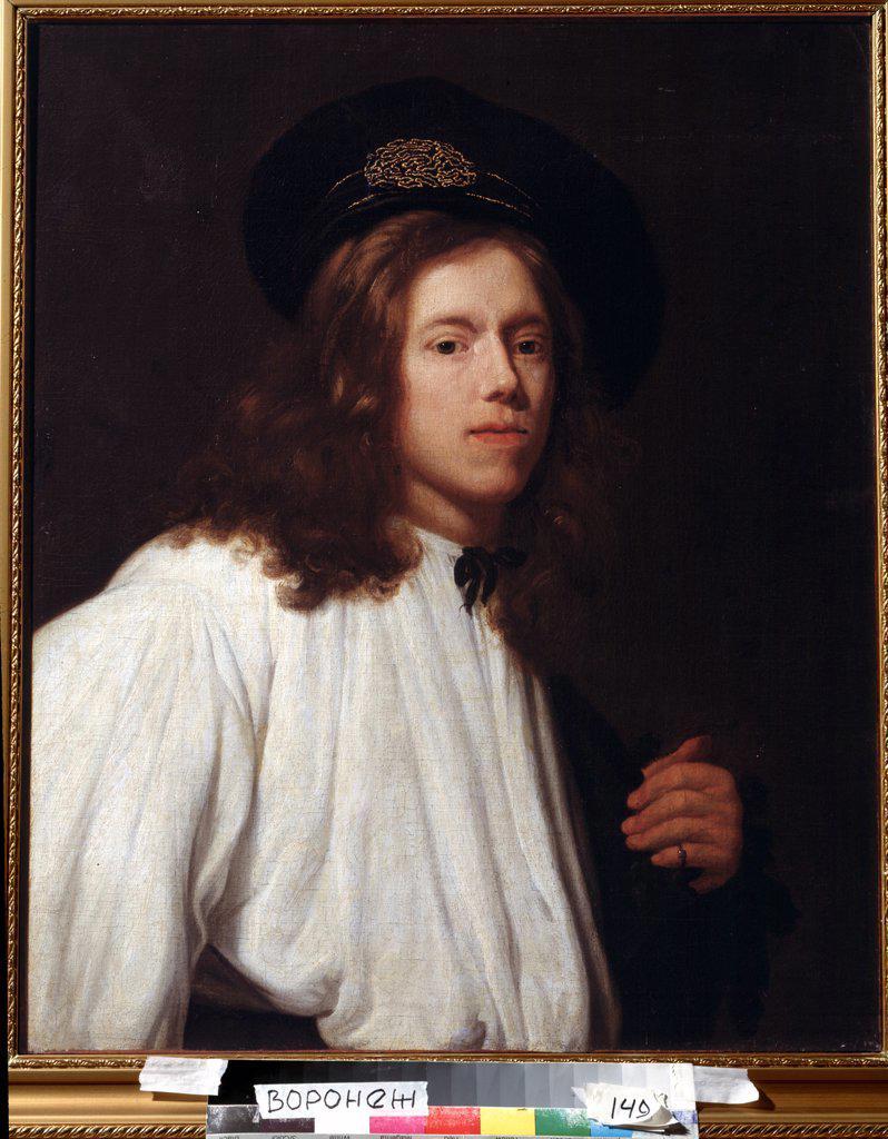 Portrait of young man by Samuel Dirksz van Hoogstraten, Oil on canvas, 1627-1678, 17th Century, Russia, Voronezh, Regional I. Kramskoi Art Museum : Stock Photo