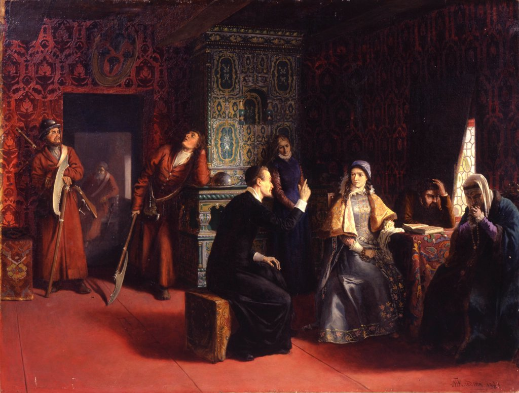 Stock Photo: 4266-11860 People talking in ornate room by Baron Mikhail Petrovich Klodt , oil on canvas, 1883, 1835-1914, Russia, Vologda, Regional Art Gallery, 83x112