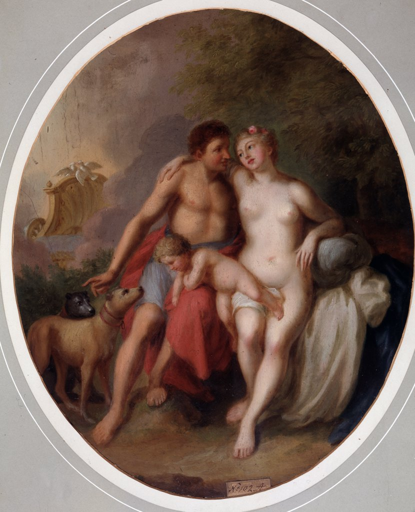 Tranquil scene with Aphrodite and Adonis by Johann Heinrich Wilhelm Tischbein, Oil on canvas, 1751-1829, 18th century, Russia, Voronezh, Regional I. Kramskoi Art Museum : Stock Photo