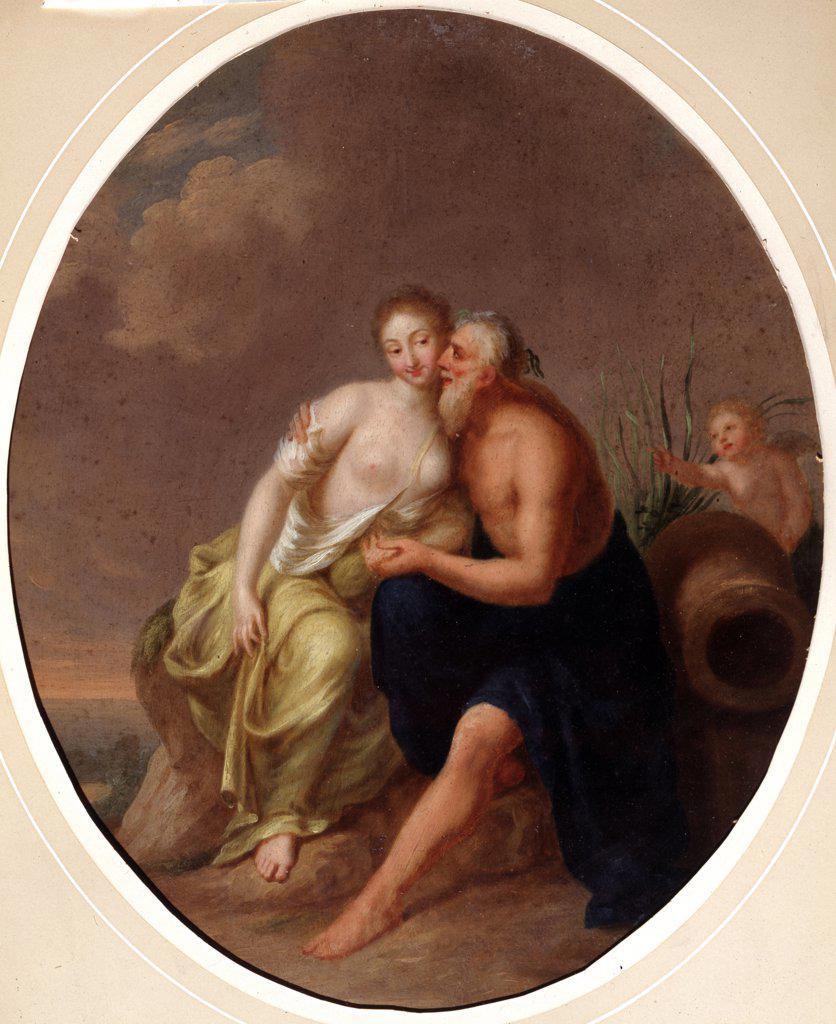 Love scene with nymph, older man and Eros, Johann Heinrich Wilhelm Tischbein, Oil on canvas, 1751-1829, 18th century, Russia, Voronezh, Regional I. Kramskoi Art Museum : Stock Photo