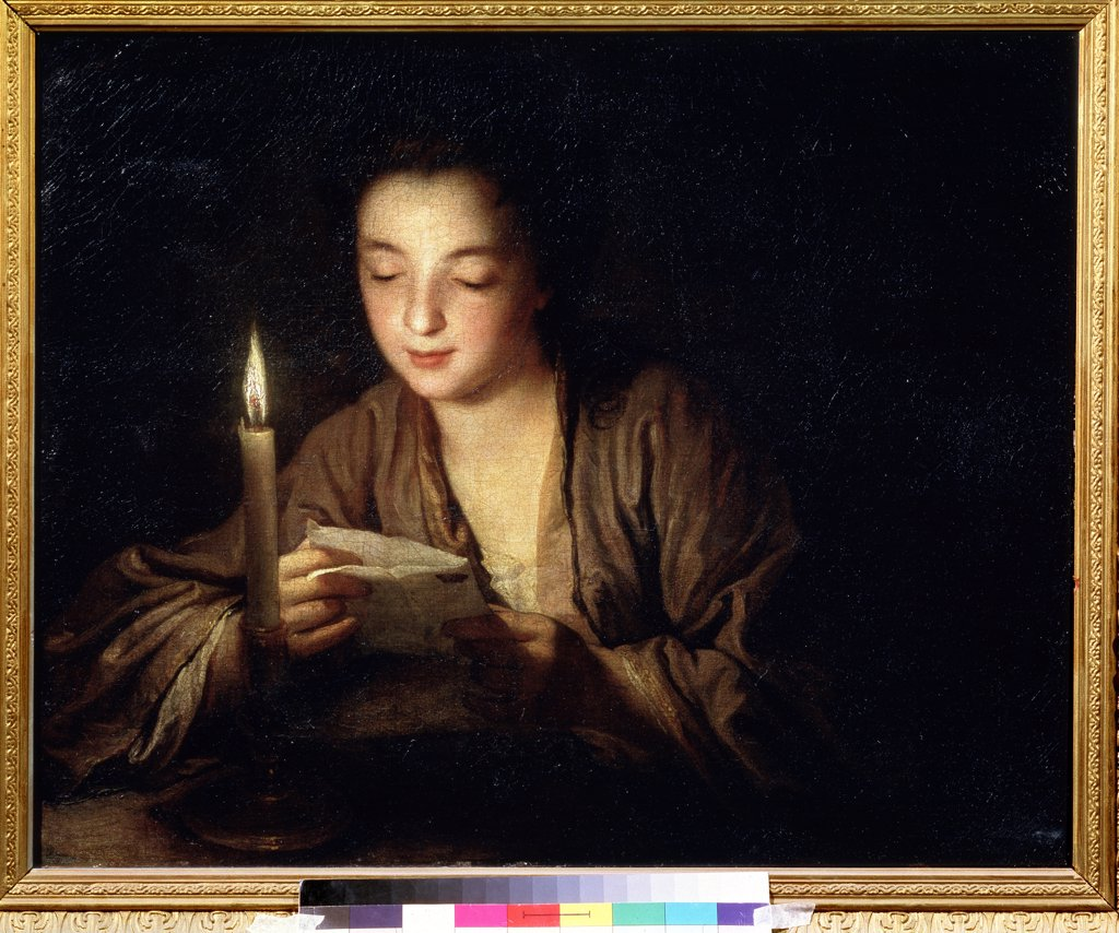 Stock Photo: 4266-11963 Woman reading letter by Jean Baptiste Santerre, oil on canvas, around 1700, 1658-1717, Russia, Moscow, State A. Pushkin Museum of Fine Arts, 64x79