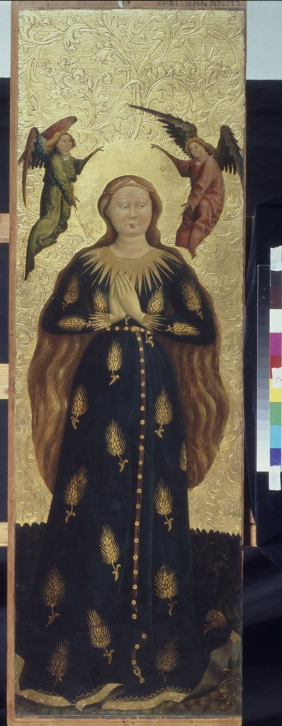 Stock Photo: 4266-1202 Virgin Mary by Austrian master, Tempera on panel, circa 1440-1450, 15th century, Russia, Moscow, State A. Pushkin Museum of Fine Arts, 124x40