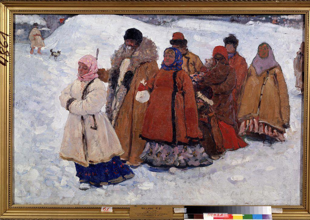 Stock Photo: 4266-12062 People in warm clothing by Sergei Vasilyevich Ivanov, oil on canvas, 1909, 1864-1910, Russia, Pensa, Regional K. Savitsky Art Gallery, 79x119