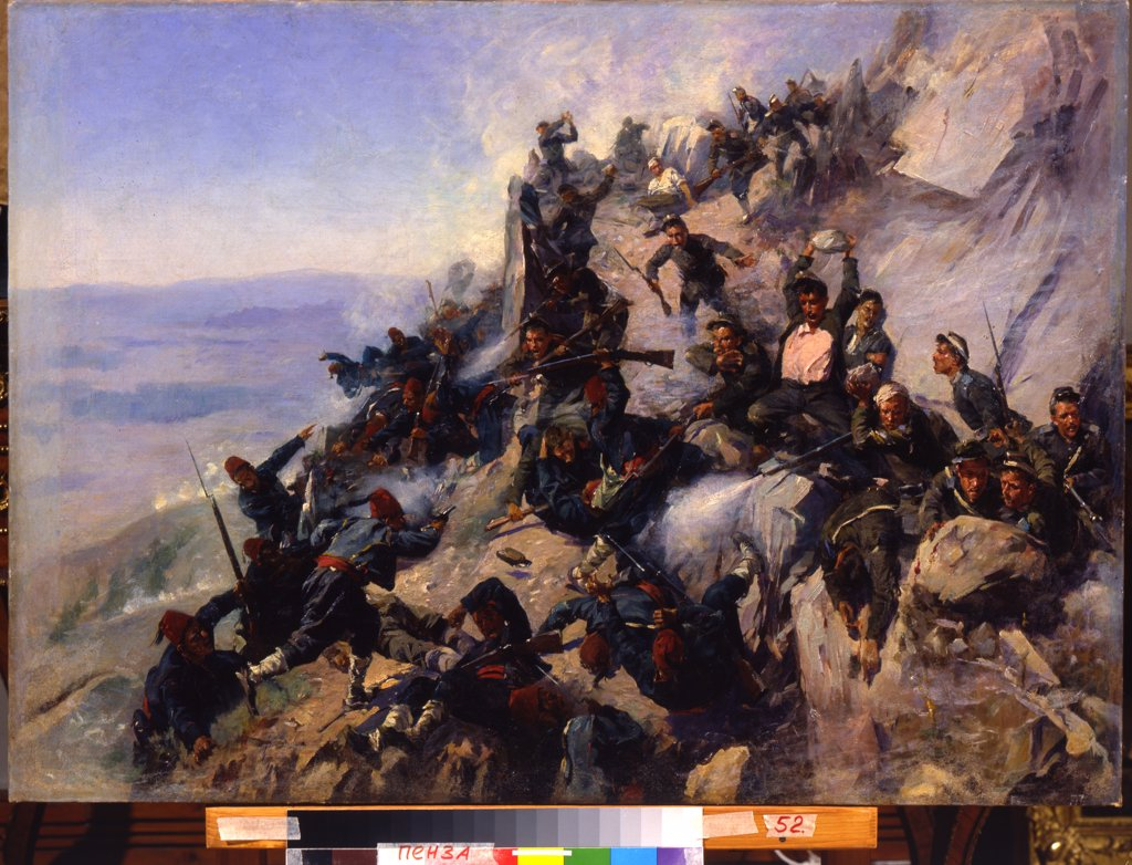 Stock Photo: 4266-12064 Balkan War by Andrei Nikolayevich Popov, oil on canvas , 1893, 1858-1917, Russia, Pensa , Regional K. Savitsky Art Gallery, 66x94