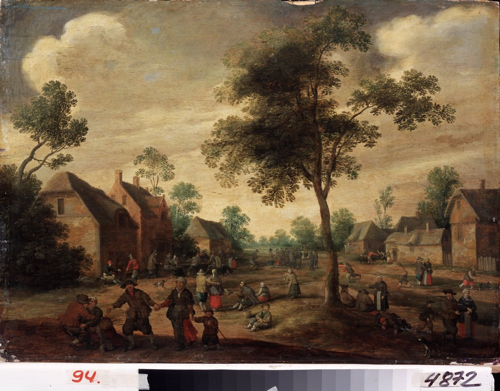 Stock Photo: 4266-12073 View of village by Jost Cornelisz Droochsloot, oil on wood, 1586-1666, Ukraine, Kharkov, State Art Museum, 46, 5x64