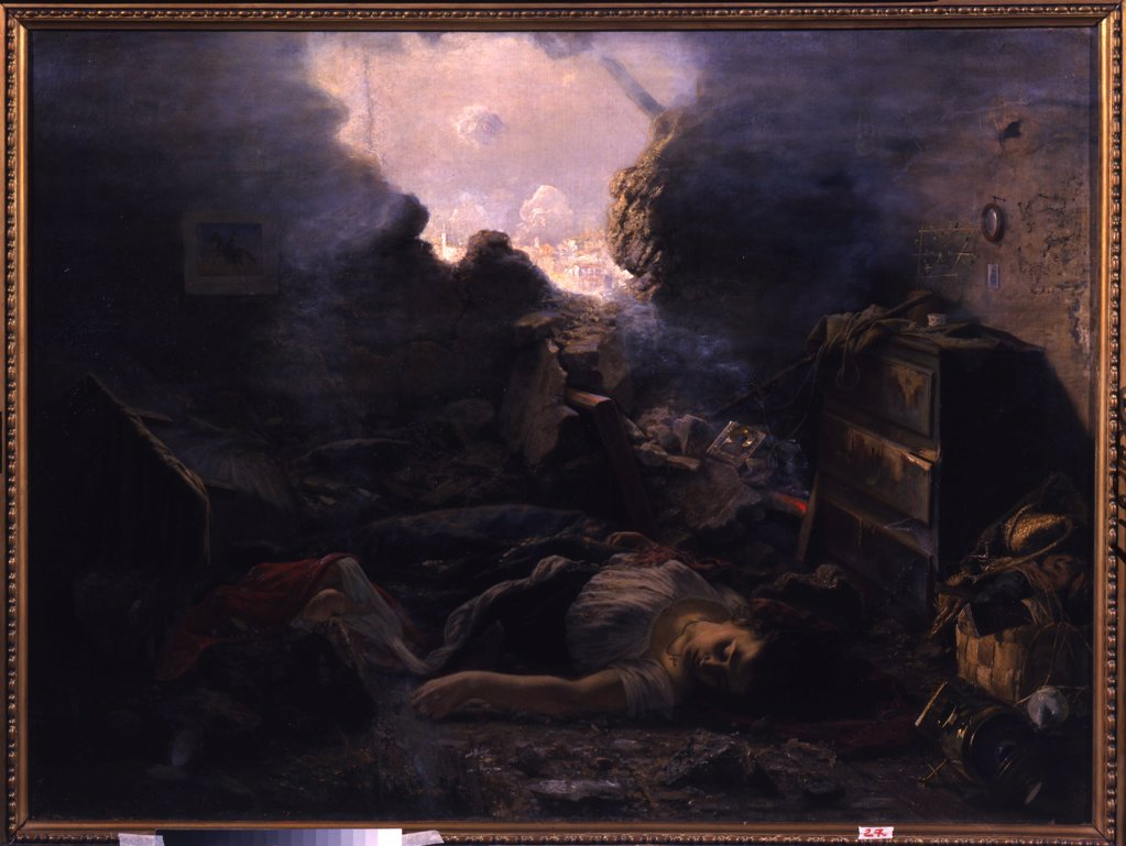 Stock Photo: 4266-12079 Siege of Sevastopol in 1854 by Grigori Grigoryevich Myasoedov, oil on canvas , 1878, 1834-1911, Ukraine, Kharkov , State Art Museum, 114x56