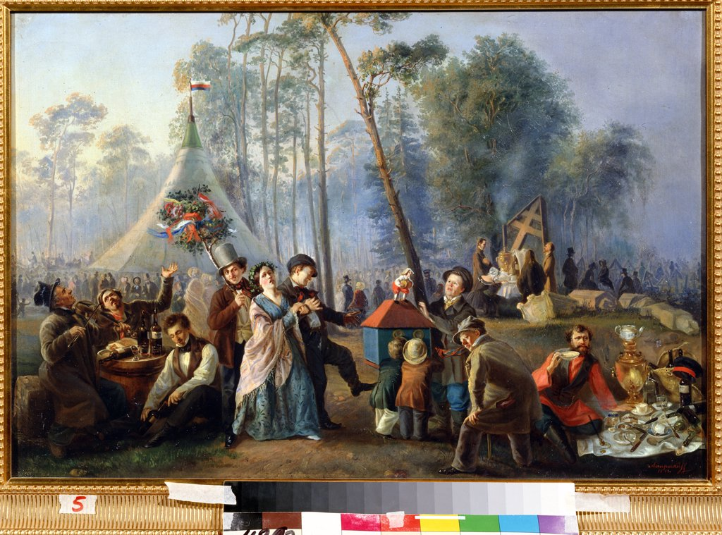 Stock Photo: 4266-12087 Celebrating people by Vasili Yegorovich Astrakhov, oil on canvas , 1852, ?-b. 1867, Russia, Moscow , State History Museum, 49x73