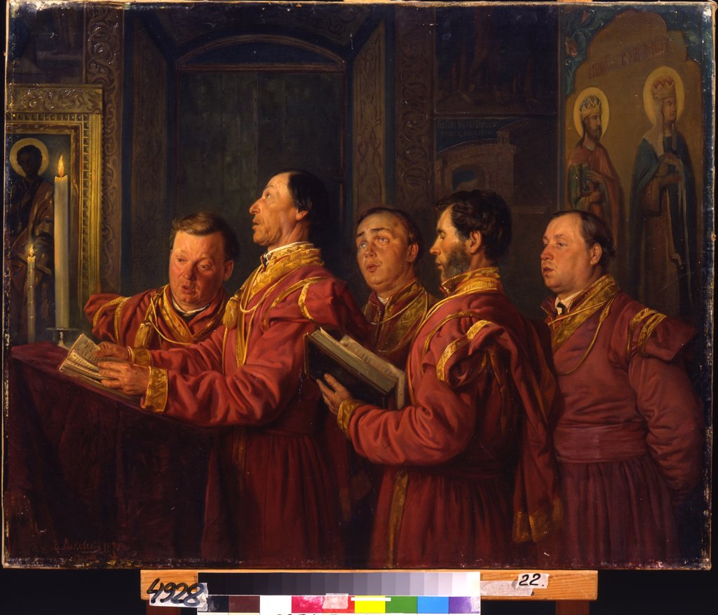 Stock Photo: 4266-12103 Men singing in church by Vladimir Yegorovich Makovsky, oil on canvas , 1870, 1846-1920, Ukraine, Sevastopol, M. Kroshitsky Art Museum, 70, 5x89, 5