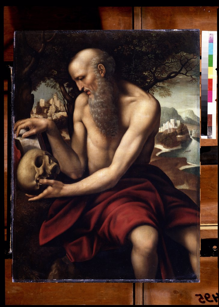 Stock Photo: 4266-12121 Saint Jerome holding human skull by Cesare da Sesto , tempera on panel, 1477-1523, Russia, Moscow , State A. Pushkin Museum of Fine Arts, 82x62